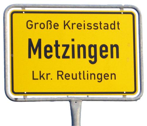 Ortsschild Metzingen